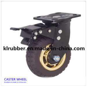 Black Rubber Industrial Caster Wheel with Brake pictures & photos
