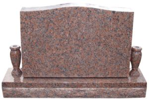 Cheap American Style Red Granite Stone Headstone with Vase pictures & photos