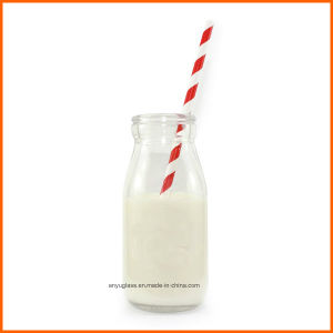 Mini Glass Milk Bottles for Pudding with Straw pictures & photos