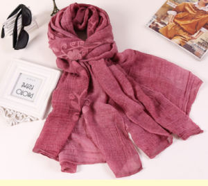 Wholesale Cotton Polyester Plain Color Long Fashion Lady Shawls Embroidery Scarf