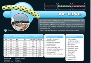 Various Sizes T1-Line Halyad/Sheet&Control Rope for Racing/Keel Boat/Multihull pictures & photos