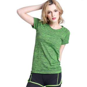 Women′s Dyeing Slim Short Sleeve Fitness Clothes Yoga T-Shirt pictures & photos