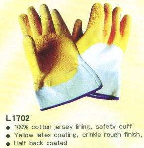 Latex Coating Gloves with Safety Cuff pictures & photos