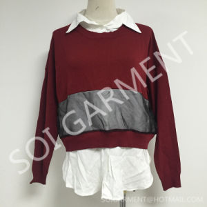 Spring &Autumn Fashion Knit and Woven Blouse with Mesh (BL-172)