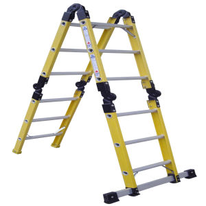 (375LBS) 35kv Yellow Fiberglass 4-Section Folding Ladder pictures & photos