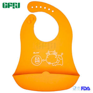 FDA Approved Material Packagable Baby Products Silicone Bib with Catcher pictures & photos