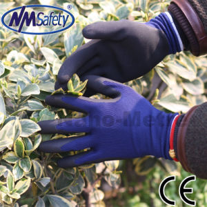 Nmsafety Nylon Liner Palm Coated Latex Work Glove pictures & photos