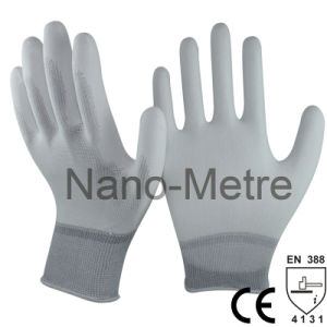 Nmsafety White Nylon Back PU Coating Work Safety Glove pictures & photos