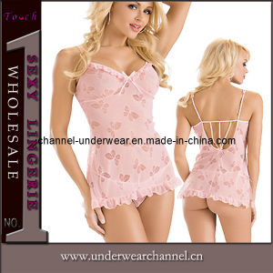 Hot Sale Pink Night Dresses Chemise Lingerie Babydoll (T2186) pictures & photos