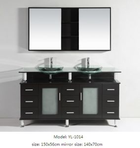 Wooden Vanity Bathroom Furniture with Glass Sink Mirror