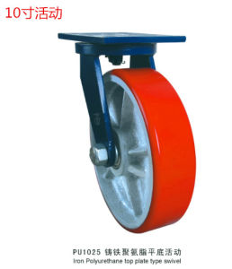 Heavy Duty Swivel Caster with Red PU Wheel Cast Iron Core