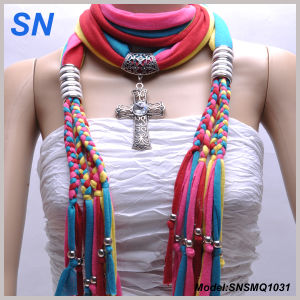 Muliti Colored Fashion Pendant Scarf with Jewelry (SNSMQ1031) pictures & photos