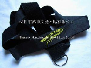 Black Nylon Hook & Loop Customed Logo Adjustable Carrying Strap with Metal Ring