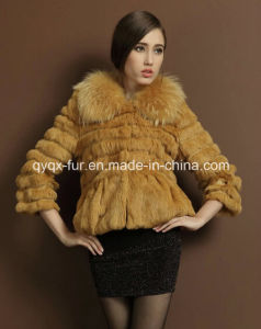 Women′s Three Quarter Sleeve Rabbit Fur Short Coat 2015 New Fashion pictures & photos