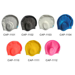 Silicone Swimming Caps with Ear Guard (CAP-1100) pictures & photos
