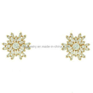 Plated Brass Snowflake Ear Stud with CZ for Daily Wear (KE3160) pictures & photos