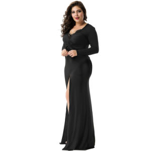 2017 Factory Price Sexy Black Long Sleeve Evening Dress pictures & photos