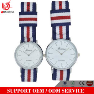 Yxl-550 Stainless Steel Couple Wrist Watch with Nylon Band Slim Case Watch 3 ATM Water Resistant pictures & photos