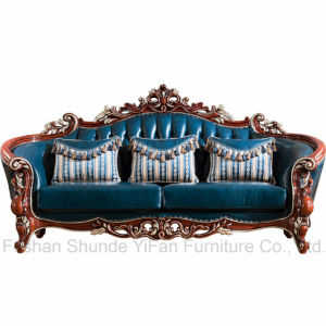 Antique Leather Sofa with Sofa Chair for Living Room Furniture (521) pictures & photos