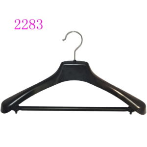 Brand Clothes Store Suit Plastic Hangers with Anti-Slip Bar pictures & photos