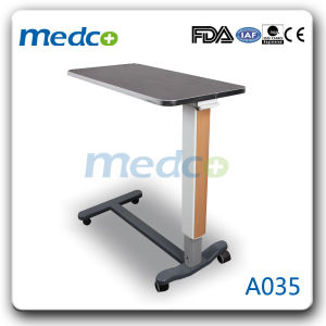 Wooden Adjustable Hospital Gas-Spring Over-Bed Table for Patient pictures & photos