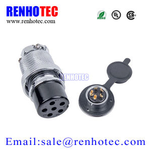 25mm Gx25 Connector Circular Flange Type 6 Pin Aviation Connector pictures & photos