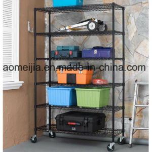 6 Tier Black Wire Rack with 3′′ Wheels pictures & photos