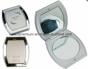 Plating Gold Frame Make up Mirror Centre in Black Enamel with Hot Stamp Gold Logo Mirrorbps071