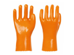 New Style Cotton Wool PVC Coating Plastic Gloves Work Gloves 928 pictures & photos