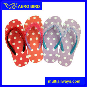 Three Colors PE Flip Flops with Beautiful Straps for Ladies pictures & photos