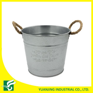 Galvanized Metal Pot with Embossing in Rope Handle for Gardening