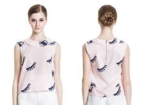 Summer Sleeveless Eyelashes Pattern Round Neck Ladies Shirt pictures & photos