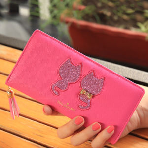 Red Cartoon Double Cat Logo Print Women Wallet and Purse