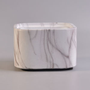 Various Square Marble Finish Water Transfer Ceramic Candle Holder pictures & photos