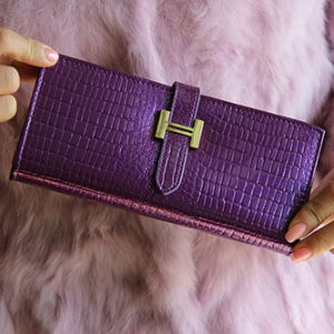 Buckle Long Purse and Wallet Female Large Crocodile Leather with Patent Leather Wallet pictures & photos