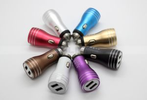 DC 5V 3.1A Metal Dual USB Car Charger for Tablet PC Apple iPhone Mobile Phone Car Mount with Hammer pictures & photos