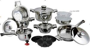 19PCS Stainless Steel Wide Edge Cookware Set-7steps Bottom. pictures & photos