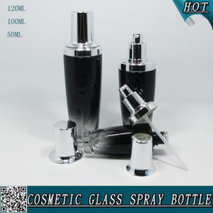 Black Colored Cosmetic Glass Lotion Bottle with Shinny Silver Lids pictures & photos