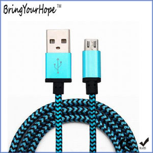 Fabric Braided Shield USB Charging Cable for Mobile Phone pictures & photos