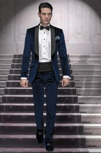 Custom Men Navy Blue Tuxedo Suit pictures & photos