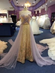 Gold Lace Long Tulle Shawl Wedding Evening Dress pictures & photos