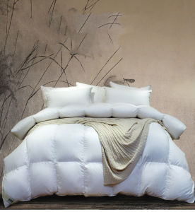 233 Tc Solid Cover 90% White Duck Down Comforter pictures & photos