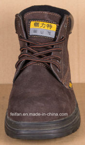 Brown Color Suede Leather Safety Shoe with Rubber Sole pictures & photos