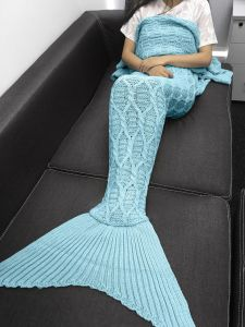 Knitted Mermaid Tail Blanket Adult Knitted Sofa Bed Throw Blankets Mermaid pictures & photos