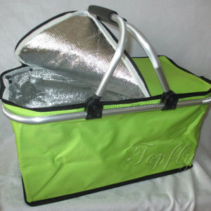 Picnic Basket Cooler Folding Shopping Basket with Single Handle pictures & photos