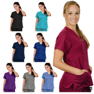 Women V Neck 2 Pocket Scrub Medical Nursing Uniform (A611)