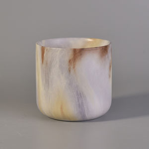 Natural Marble Finish Ceramic Candle Jar pictures & photos