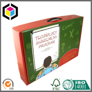 Full Color Printed Corrugated Packaging Carry Box with Plastic Handle pictures & photos
