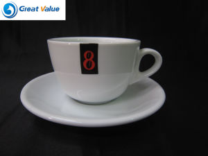 Customize White Porcelain Tea Cup with Custom Logo with Saucer pictures & photos