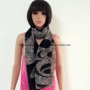 100% Polyester Fashion Scarf with Chiffon Material, Printing Flowers pictures & photos